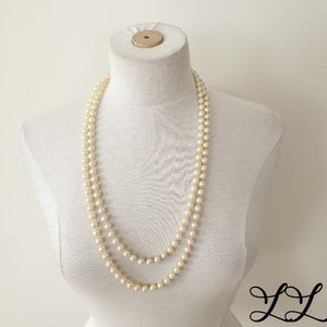 Vintage Faux Pearls Necklace Costume Long Strand